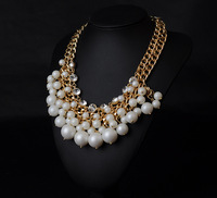 2015 New Vintage Wholesales Fashion Pearl  Jewelry Elegant Choker Necklace Multi Layer Necklace Gold Necklace
