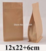 12*22+6cm Flat bottom stand up ziplock kraft bag  4.7''*8.7'' bellow zipper kraft bag coffee tea nuts kraft paper bag,100pcs/lot