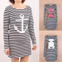 2015 New fashion anchor bear printed long sleeve t-shirt women dress skinny tops tees black white long striped dress