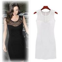 Brand New 2015 spring summer casual sheath mini Dress Women hollow out dress elegant work wear dress white/ black M/L/XL