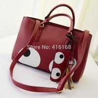 15 new wild cartoon eyes fringed shoulder bag hand bag handbag Messenger bag killer personality tide bag woman bag free shipping
