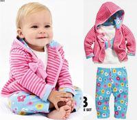 Baby Girl's 3pcs suit set autumn clothing sets 100%cotton bow stripe hoody jacket + long sleeve shirts+ flower pants