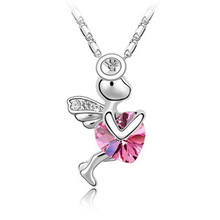 Korea wholesale crystal jewelry crystal necklace Angel Heart Trainee Cupid B153 full shipping cheap