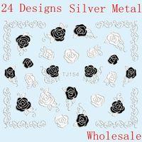 Wholesale 24 Designs 3D Silver Metal Flower Nail Stickers Black White Sheet 100pcs/lot
