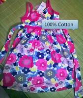 2015 summer kids clothes floral bow 100% cotton child party princess tank girl dress sundress size 2-10