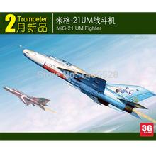 Trompetista modelo em escala 02865 1/48 escala avião MiG-21 UM lutador assembléia modelo kits modelo de construção escala modelo de avião kit(China (Mainland))