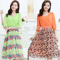 M-XXL size fashion female dress 2015 new korean style plus size women clothing patchwork printed long dress free shipping