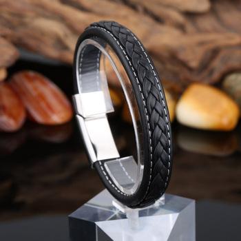 Черный из натуральной кожи браслет мужчины браслет из нержавеющей стали мода новый ...
