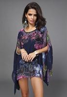 2015 New Hot Sale Fashion Vintage Floral Print Pattern Chiffon Blouse Women Long Bat Sleeve Shirt Tops 5 Colors Blusas