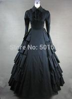 black ruffles long sleeve long medieval dress Renaissance Gown queen cosplay Victorian /Marie  Belle Ball
