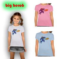 Retail New 2015 Big Hero 6 T Shirt Girls Top T-shirt For Kids Baymax Summer Cartoon Pink Blue Children T shirt Clothes DA619