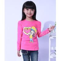 Children's T-shirts 2015 Female Child Spring Cotton T-shirts Long-Sleeve Female Child Basic T-shirt