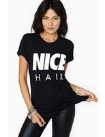 New 2015 Summer T shirt Short Sleeve O-Neck Letter Nice Hair Printed T shirt Women Casual Tops Women Clothing Black Punk T-shirt