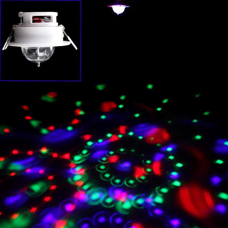 Hooks Design Enery Saving 3W Full Color LED Auto Voice-activated Rotating RGB Ceiling Stage Light DJ Disco KTV Lamp(China (Mainland))