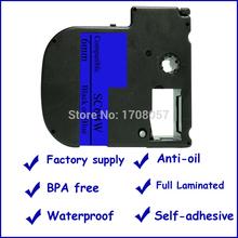 (Freeshipping)  Self-adhesive Compatible Laminated Black on Blue Kingjim 6mm Cassette Tapes SC6BW