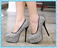 Free shipping gold high heel shoes heels women dress shoes footwear fashion shoes sexy pumps silver heels wedding shoes C916
