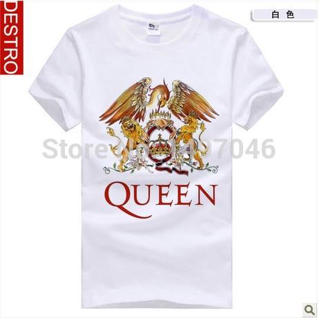 DESTRO 2015 Rock Music Men Tops Fashion O Neck Short Sleeve Cotton Lions Big Bird Print Music Band The Queen Nostalgic T Shirts(China (Mainland))
