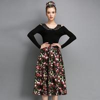 2015 printing Skirts womens fashion big wild high waist bust Bubble Skirts show thin long skirts
