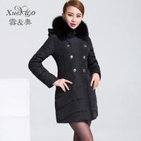 2014 women's thickening medium-long down coat female large fur collar outerwear yrf 1823