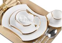 2015 Fashion 6-piece western plate steak tableware dish ceramic silver/gold rim bowl spoon set house warming gift