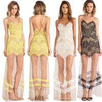 Women Sexy Lace Slit Backless Crochet Floor Maxi Evening Party Long Club Dress plus size