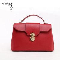 Smilyan vintage women genuine leather candy color doctor tote hand bag shoulder bags fashion bolsas brand high quality handbags