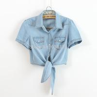 2015 summer shirt women denim shirt Jeans ladies denim shirt  short sleeve blusas femininas casual  plus size jean denim shirts