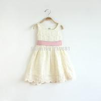 2015 Girl's summer flower belt dress , lace dress girls , baby girl dresses , 6pcs/lot    FJP70
