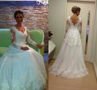 Fashionable V-neck Long Sleeve Lace Wedding Dress Robe De Mariage Custom Made Romantic Bridal Gown Vestidos De Novia 2015 Hot