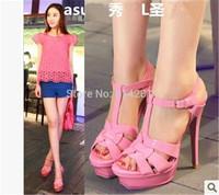 Discount Ultra thin 14cm heel formal T buckle platform high heels women sandals 2015 high heel shoes weave summer bright leather