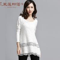 2015 spring white lace dress plus size women clothing  white dress casual long sleeve dress  5xl crochet dress white black