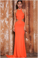 L059,Free shipping United States women's PROM dress sleeveless round collar sexy backless hollow-out dovetail dress
