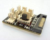 SATA 15-pin Male to 8x 3pin Male Fan HUB turn High/Low Speed 12v/7v Adapter