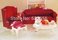 1:12 Dollhouse Miniature Furniture Queen Anne Living Room 4pc Silk Dark Red WOOD Toy