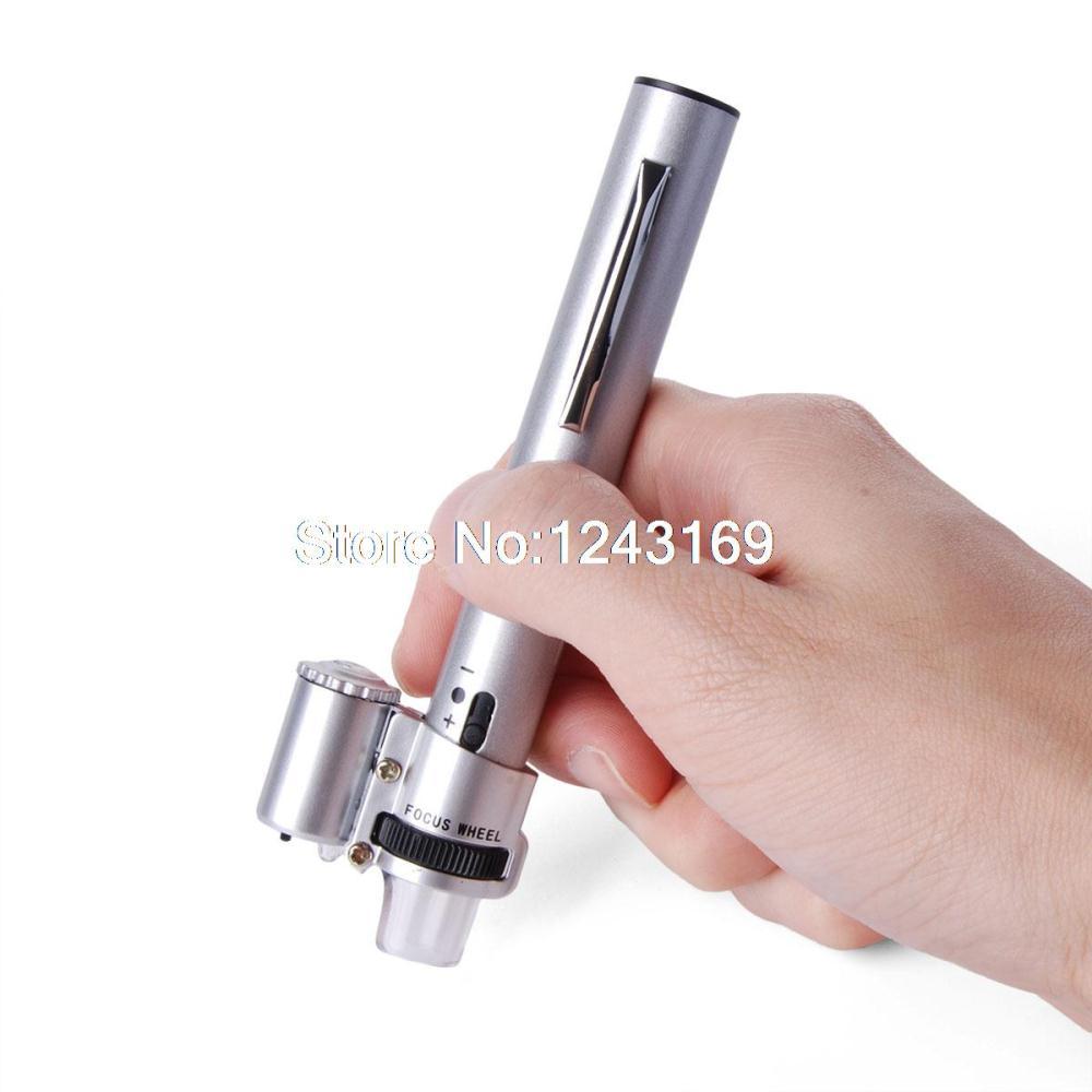 Xcsource 100X Jewelry Power Handheld Pocket LED Light Microscope Loupe Magnifier Pen TE077-SZ(China (Mainland))