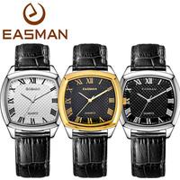 EASMAN Brand Watch Men Quartz Watch 2015 Business Genuine Leather Gold Watch White Black Wristwatches New Fashion Watch For Men