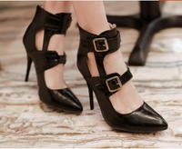 Small Size 31 32 33 43 42 Plus Size Women Ultra High Heel Pumps Girls Thin Heel Shoes Fashion Trend Buckle Zip Pointed Toe Shoe