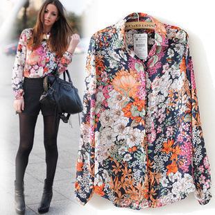 New Arrival 2015 Spring Summer Vintage Floral Print Shirts Womens Long Sleeve Fashion Chiffon Blouses Tops Blusas Femininas Hot(China (Mainland))