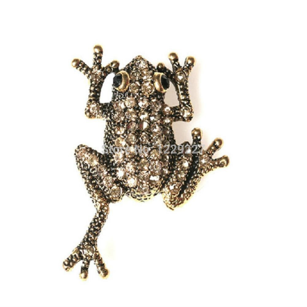 High Quality Vintage Style Frog Crystal Pin Brooch(China (Mainland))