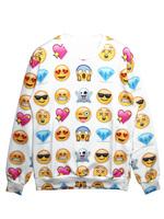 Unisex Hipster Sweaters EMOJI 3D Cartoon Pattern Print Hoodies Sweatshirt M-XL In Stock 2015 Spring New Fashion
