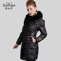 Xueao 2014 new leopard self-cultivation luxury fur collar in long down coats women coat 1222