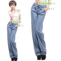 New 2015 Fashion Tencel Wide leg Jeans Female , Mid Waist loose Thin Cozy Straight long Pants Free Shipping