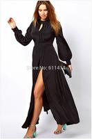 L062,Free shipping Authentic summer new long sleeve hem round collar slit long dress,black fashion dress
