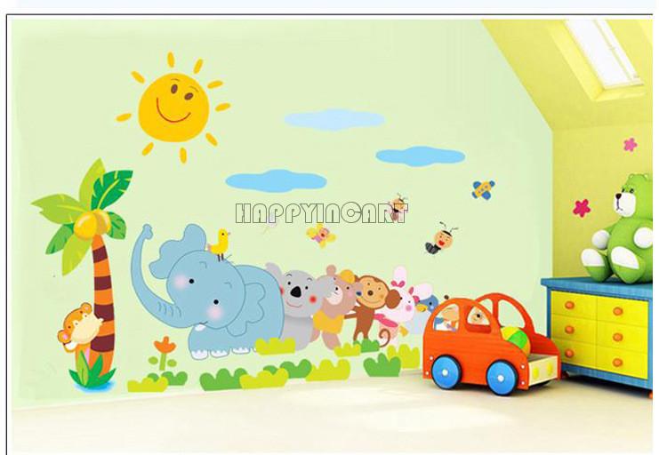 Amovible elephant arbre maternelle mignon b b gar ons - Papier peint chambre bebe garcon ...