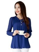 Free Shipping ! Long Sleeve Shirt Women , Korean Plus Size Thin Solid Color Pearl Chiffon Blouses L XL 2XL 3XL 4XL