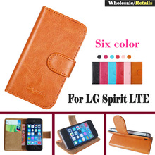 In Stock! New Flip Leather Smartphone Slip-resistant Case For LG Spirit LTE Pouch Case Cover Bifold Card Slots Wallet 6 Colors