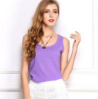 2015 New Fashion Tops Chiffon Shirt Plus Size Blusa Camisas Women Blouses Sleeveless Vest Chiffon Blusas Roupas Femininas