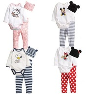 rompers long sleeve cotton baby infant cartoon newborn baby clothes romper+hat+pants 3pcs clothing set