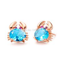 GNE1163 Brand Design Cancer Stud Earring Genuine 925 Sterling silver & Rose Gold Plated Earrings For  women Children Gift Lovely