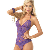 Halter Sexy lingerie Teddies Lace Body Suit Perspective clothing